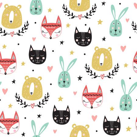 Seamless pattern with cute animals: fox, bear, bunny, cat. Vector illustration. Illustration