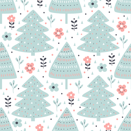 Seamless pattern with fir tree and flowers in cartoon style. Vector illustration.