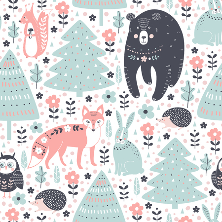 Vector seamless pattern with forest animals: fox, bear, rabbit, squirrel, hedgehog, owl in cartoon style.