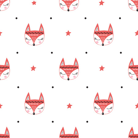 Illustration of a seamless pattern with foxes and stars on a white background