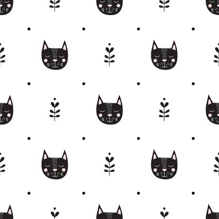 Cats face vector illustration seamless pattern. Illustration