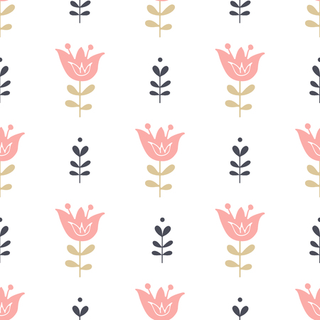 Seamless pattern with flowers. Vector floral background.