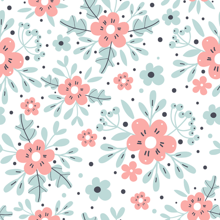 Illustration of a seamless floral background.