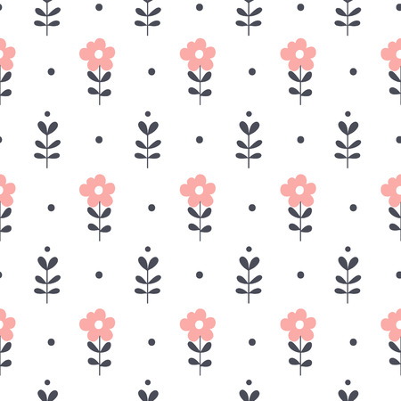 Illustration of seamless pattern with pink and black flowers.