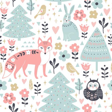 Cute animals in cartoon style, fox, rabbit, owl seamless pattern. Ilustrace