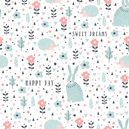 Seamless pattern with rabbits, hedgehogs and flowers in cartoon style. Vector illustration.