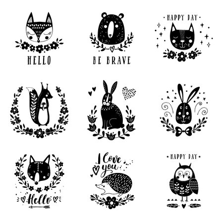 Vector set of cute animals: fox, bear, rabbit, squirrel, wolf, hedgehog, owl, cat. Illustrations for childrens prints, greetings, posters, t-shirt, packaging.