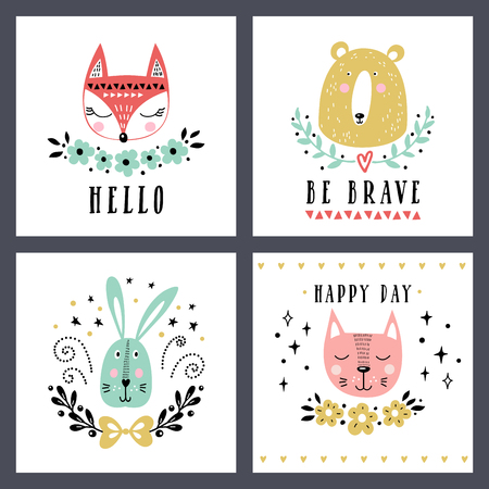 Vector set of cute animals: fox, bear, rabbit, cat. Illustrations for childrens prints, greetings, posters, t-shirt, packaging. Cards with cute illustrations.