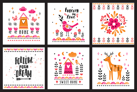 Postcards with pink, orange and black illustrations with flowers, a deer and houses with text Ilustrace