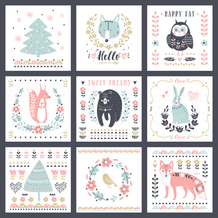 Postcards with cute illustrations vector set for childrens prints, greetings, posters, t-shirt, packaging.