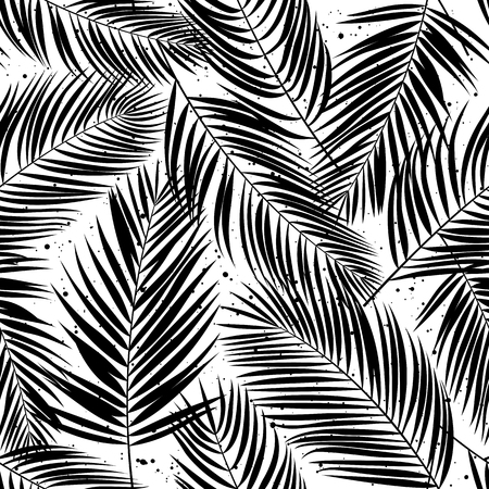 Seamless pattern with palm leaves. Tropical background. Vector illustration. Illustration