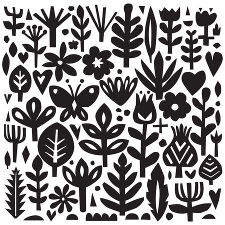 Paper floral elements. Cutout florals. Vector plant silhouettes. Scandinavian style. Botanical collection.