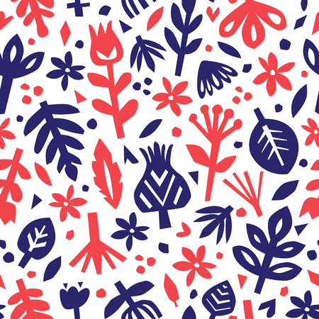 Seamless abstract floral background. Botanical vector pattern. Paper floral elements. Cutout florals.