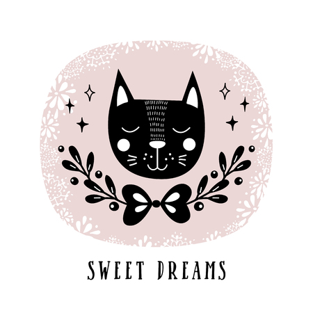 Vector card with cute cat. Illustration for childrens prints, greetings, posters, t-shirt, packaging, invites. Cute animal. Postcard with sweet dreams text.
