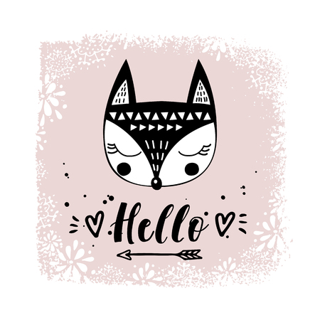 Vector card with cute fox. Illustration for childrens prints, greetings, posters, t-shirt, packaging, invites. Cute animal. Postcard with hello text. Funny cartoon animal.