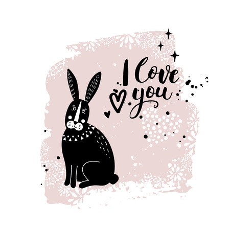 Vector card with cute bunny. Illustration for children's prints, greetings, posters, t-shirt, packaging, invites. Elements for your design. Postcard with love text. Funny cartoon animal. Illustration