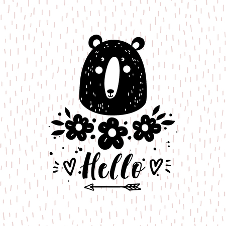 Vector card with cute bear. Illustration for childrens prints, greetings, posters, t-shirt, packaging, invites. Funny cartoon animal.