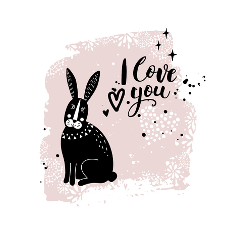 Vector card with cute bunny. Illustration for childrens prints, greetings, posters, t-shirt, packaging, invites. Postcard with love text. Funny cartoon animal. Standard-Bild