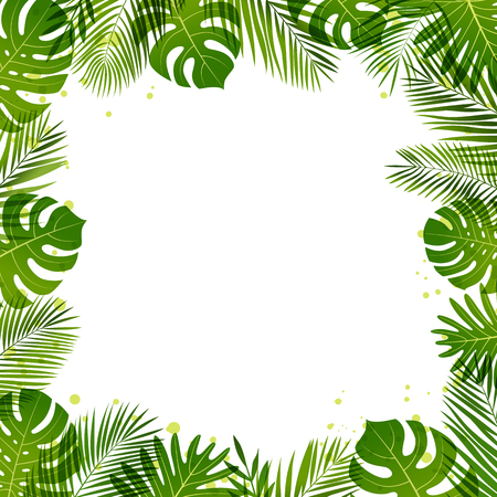 Summer frame of palm leaves. Tropical plants. Vector floral banner template.