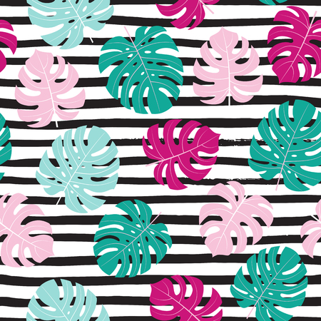 Summer background with tropical leaves. Seamless floral pattern. Vector texture. Standard-Bild