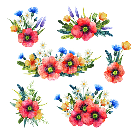 Watercolor floral composition. Hand drawn illustration with summer flowers. Bouquets with wildflowers. Poppies, cornflower, chamomile.