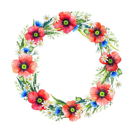 Watercolor floral wreath. Summer flowers. Hand drawn illustration. Floral frame.