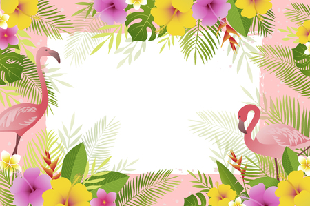 Summer frame with flamingo, palm leaves and tropical flowers. Floral banner template. Vector illustration.