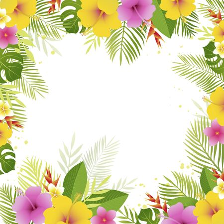 Summer frame with palm leaves and tropical flowers.