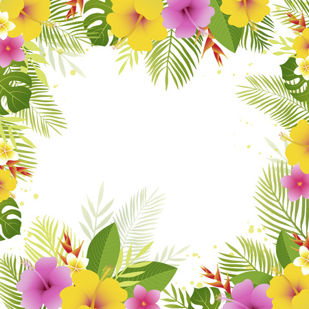 Summer frame with palm leaves and tropical flowers. Floral banner template. Vector illustration. Illustration
