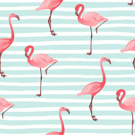 Seamless pattern with pink flamingo. Vector summer background.