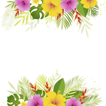 Summer background with palm leaves and tropical flowers. Floral banner template. Tropical card. Vector illustration. Illustration