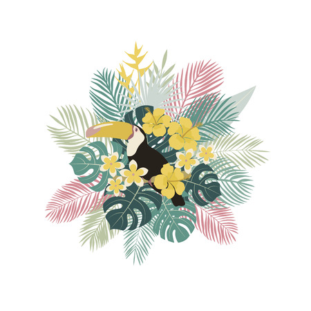 Tropical collection. Toucan, palm leaves, tropical plants flowers Vector illustration