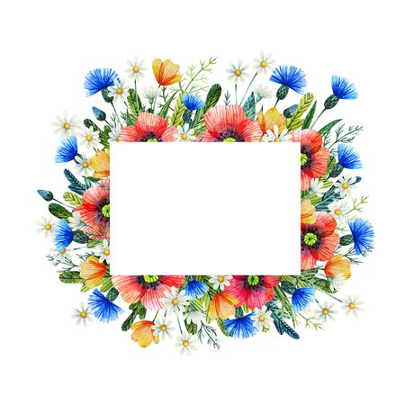 Watercolor frame with wildflowers. Poppies, cornflower, chamomile. Hand drawn illustration.