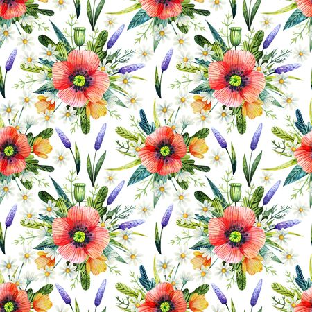 Watercolor seamless pattern with poppies. Floral background. Hand drawn summer flowers.