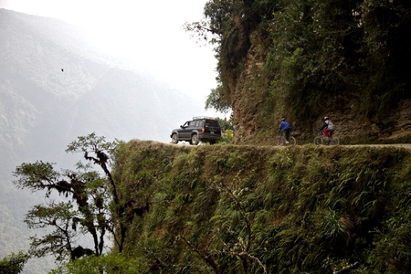 andes mountain: The Death Road Stock Photo