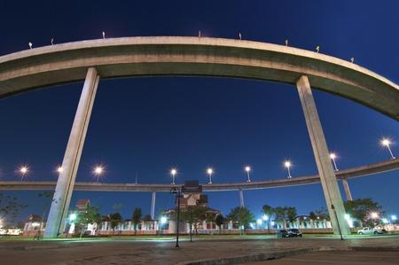 The bridge under twilight,Bangkok-Thailand photo