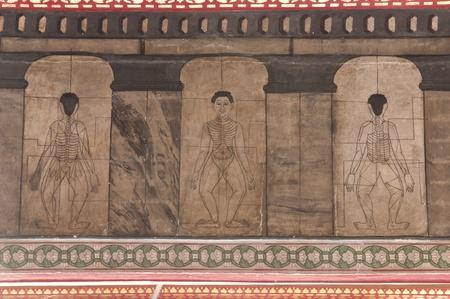 medico dibujo: Punto de masaje tailand�s en Wat Pho, el templo del Buda yacente, Bangkok, Tailandia