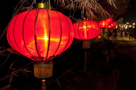 Line street lamp to carnival in chinese new year celebration, Nakhon Sawan, Thailand Stock Photo