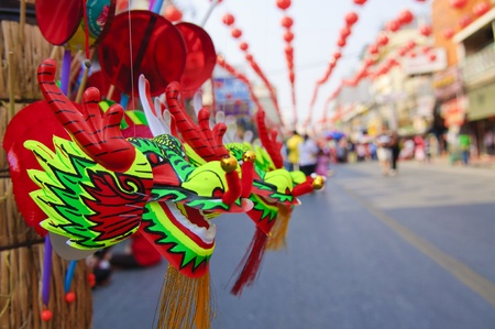 chinatown: dragon toys in Chinese New Year cerebration