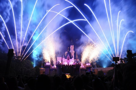 disney: Disney Land, Hongkong - November 19,2010 -  Disney Castle with firework