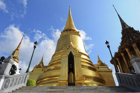 travel features: Phra Sri Ratana Chedi coverd with foil gold in the inner Grand Palace, Bangkok, Thailand