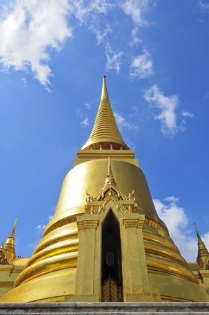 Phra Sri Ratana Chedi coverd with foil gold in the inner Grand Palace, Bangkok, Thailand photo