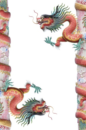 Red dragon pole isolated on white background photo