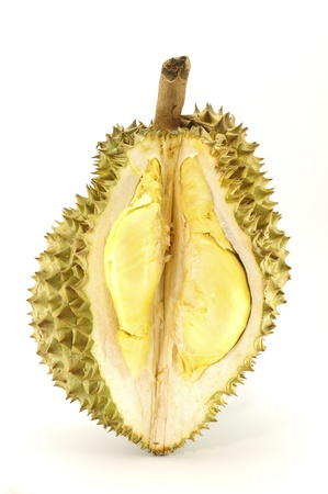 Durian, the king of fruit of South East Asia isolated on white photo