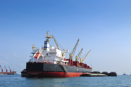 Large container ship in the sea photo