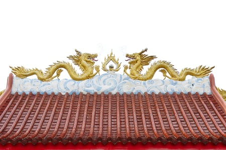 Chinese style twin golden dragons on the roof, Thailand