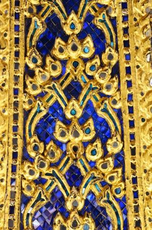 wall texture at Wat Phra Kaew,Temple of the Emerald, Bangkok, Thailand photo