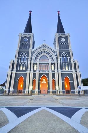 Catholique cathédrale de l'Immaculée Conception, au crépuscule, Chanthaburi, Thaïlande Banque d'images - 10042662