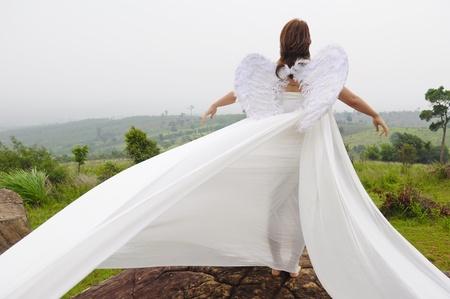 wing figure: A beautiful angel flying girl, Fairy women