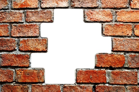 The hole in ancient brick wall
